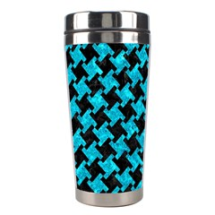 Houndstooth2 Black Marble & Turquoise Marble Stainless Steel Travel Tumbler by trendistuff