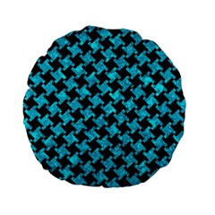 Houndstooth2 Black Marble & Turquoise Marble Standard 15  Premium Flano Round Cushion  by trendistuff