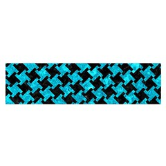 Houndstooth2 Black Marble & Turquoise Marble Satin Scarf (oblong) by trendistuff