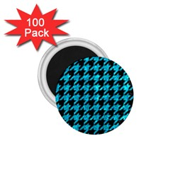 Houndstooth1 Black Marble & Turquoise Marble 1 75  Magnet (100 Pack)  by trendistuff