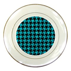 Houndstooth1 Black Marble & Turquoise Marble Porcelain Plate