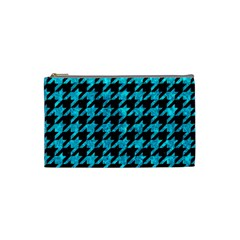 Houndstooth1 Black Marble & Turquoise Marble Cosmetic Bag (small) by trendistuff