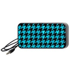 Houndstooth1 Black Marble & Turquoise Marble Portable Speaker (black) by trendistuff