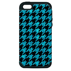 Houndstooth1 Black Marble & Turquoise Marble Apple Iphone 5 Hardshell Case (pc+silicone) by trendistuff