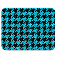Houndstooth1 Black Marble & Turquoise Marble Double Sided Flano Blanket (medium) by trendistuff