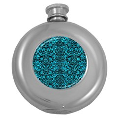 Damask2 Black Marble & Turquoise Marble (r) Hip Flask (5 Oz) by trendistuff
