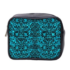 Damask2 Black Marble & Turquoise Marble (r) Mini Toiletries Bag (two Sides) by trendistuff
