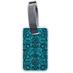 Damask2 Black Marble & Turquoise Marble (r) Luggage Tag (one Side) by trendistuff