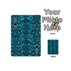Damask2 Black Marble & Turquoise Marble (r) Playing Cards 54 (mini) by trendistuff