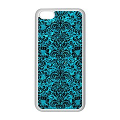 Damask2 Black Marble & Turquoise Marble (r) Apple Iphone 5c Seamless Case (white) by trendistuff