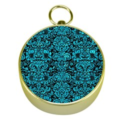 Damask2 Black Marble & Turquoise Marble Gold Compass by trendistuff