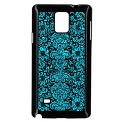 Damask2 Black Marble & Turquoise Marble Samsung Galaxy Note 4 Case (black) by trendistuff