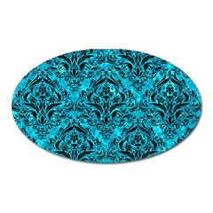 Damask1 Black Marble & Turquoise Marble (r) Magnet (oval) by trendistuff