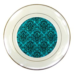 Damask1 Black Marble & Turquoise Marble (r) Porcelain Plate