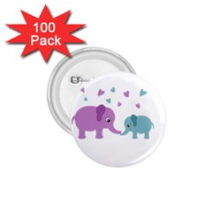 Elephant Love 1 75  Buttons (100 Pack)  by Valentinaart