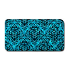 Damask1 Black Marble & Turquoise Marble (r) Medium Bar Mat by trendistuff