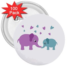 Elephant Love 3  Buttons (100 Pack)  by Valentinaart