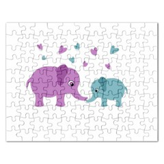 Elephant Love Rectangular Jigsaw Puzzl by Valentinaart