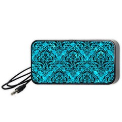 Damask1 Black Marble & Turquoise Marble (r) Portable Speaker (black) by trendistuff