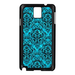 Damask1 Black Marble & Turquoise Marble (r) Samsung Galaxy Note 3 N9005 Case (black) by trendistuff
