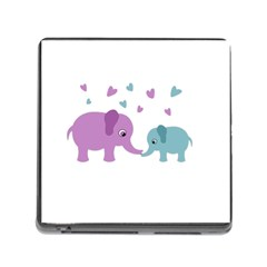 Elephant Love Memory Card Reader (square) by Valentinaart