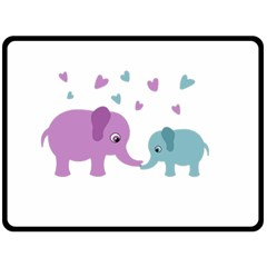 Elephant Love Fleece Blanket (large)  by Valentinaart