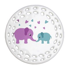 Elephant Love Ornament (round Filigree) by Valentinaart