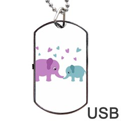 Elephant Love Dog Tag Usb Flash (two Sides) by Valentinaart
