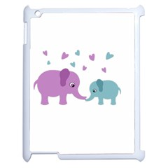 Elephant Love Apple Ipad 2 Case (white) by Valentinaart