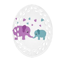 Elephant Love Oval Filigree Ornament (two Sides) by Valentinaart