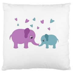 Elephant Love Large Cushion Case (two Sides)