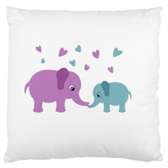 Elephant Love Large Flano Cushion Case (one Side) by Valentinaart