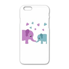 Elephant Love Apple Iphone 6/6s White Enamel Case by Valentinaart