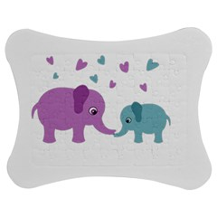 Elephant Love Jigsaw Puzzle Photo Stand (bow) by Valentinaart