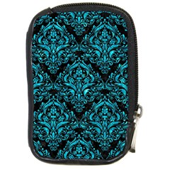 Damask1 Black Marble & Turquoise Marble Compact Camera Leather Case by trendistuff