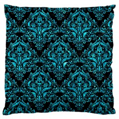 Damask1 Black Marble & Turquoise Marble Large Cushion Case (one Side) by trendistuff