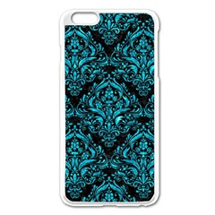 Damask1 Black Marble & Turquoise Marble Apple Iphone 6 Plus/6s Plus Enamel White Case by trendistuff