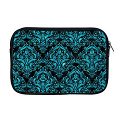 Damask1 Black Marble & Turquoise Marble Apple Macbook Pro 17  Zipper Case by trendistuff