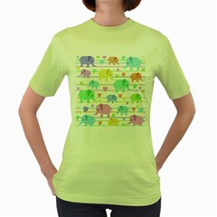 Elephant Pastel Pattern Women s Green T Shirt by Valentinaart