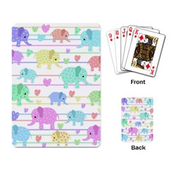 Elephant Pastel Pattern Playing Card