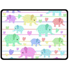 Elephant Pastel Pattern Fleece Blanket (large)  by Valentinaart