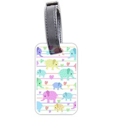 Elephant Pastel Pattern Luggage Tags (two Sides) by Valentinaart