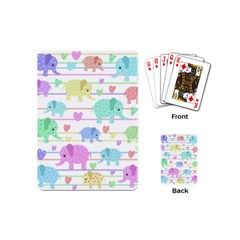 Elephant Pastel Pattern Playing Cards (mini)  by Valentinaart