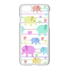Elephant Pastel Pattern Apple Iphone 7 Seamless Case (white) by Valentinaart
