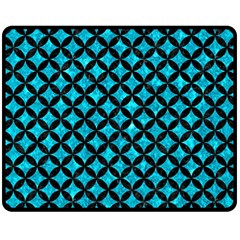 Circles3 Black Marble & Turquoise Marble (r) Double Sided Fleece Blanket (medium) by trendistuff