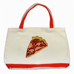 Pizza Slice Classic Tote Bag (red) by Valentinaart