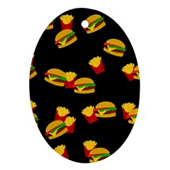 Hamburgers And French Fries Pattern Ornament (oval) by Valentinaart