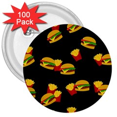 Hamburgers And French Fries Pattern 3  Buttons (100 Pack)  by Valentinaart