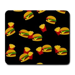 Hamburgers And French Fries Pattern Large Mousepads by Valentinaart