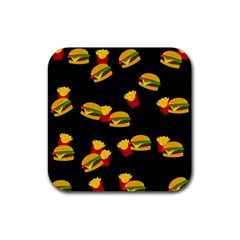 Hamburgers And French Fries Pattern Rubber Coaster (square)  by Valentinaart